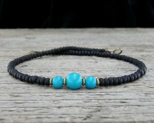 Thin Turquoise Anklet with Black Glass - Turquoise Ankle Bracelet