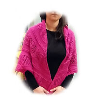 lace shawl, triangle pink prayer shawl, large handmade knitted with 100% wool