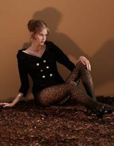 Blickdichte Strumpfhose 50den  Farbe,nero, Leopardenmuster größe L/XL