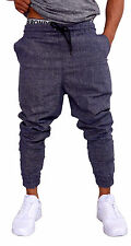 MENS CUFF PANTS BLACK CHAMBRAY COTTON SKINNY TAPERED LEG JOGGERS TRACKIES CUFFED