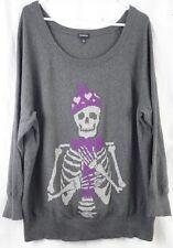 Torrid Gray Purple Skeleton Sweater Women's Plus 3 3X