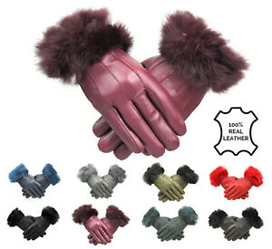 Womens Cherry Ladies Leather Gloves With Fur Trim Fleece Lined Winter M L XL