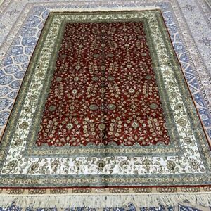 Yilong 5'x8' Red All-over Handmade Silk Carpet Antistatic Oriental Rug 359B