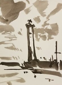 """JOSE TRUJILLO - ABSTRACT EXPRESSIONISM INK WASH ORIGINAL Lighthouse Ocean 9X12"""""""