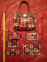 6 pieces Fossil Bag purse Handbag set key-per