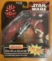 Star Wars Episode I Deluxe Obi-Wan Kenobi Lightsaber Action Figure 1998