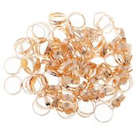 100x Adjustable Ring Blank Cabochon Beads Pad Base Tray DIY Findings Gold