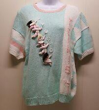 Raquel MEDIUM Tennis Knit Sweater Pastel Green Pink Vintage Pullover Cotton