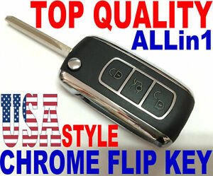 CHROME FLIP KEY REMOTE FOR HUMMER H3 CHIP KEYLESS ENTRY TRANSPONDER TRANSMITTER