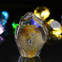 Crystal Iceberg Paperweight Color Lion Sculpture Figurine Ornament Decor Gift