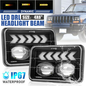 2x 4x6 LED Flowing Headlight Hi/LO DRL For Toyota Landcruiser 61 62 80 Series