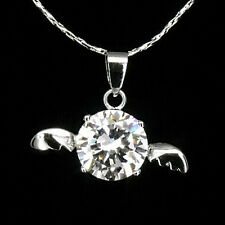 Angle Wings Necklace Pendant Charm Costume Jewelry 18k W GP CZ Clear Round Cut