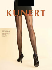 Kunert Medium to Large Size Cuban Heel Seamed 20 Denier Black Sheer Tights