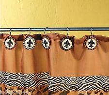 Set 12 Animal Print Fleur de Lis Shower Curtain Hooks Leopard Zebra Tiger Giraff