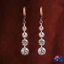 18K Gold Filled GF Made With Swarovski Crystal Elements Hoop Drop Earrings