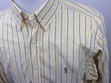 VINTAGE RALPH LAUREN 17 1/2 32/33 Classic Fit Dress Shirt Yellow Striped Pony