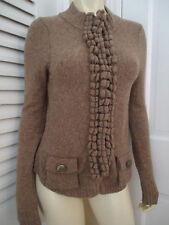 MOTH ANTHROPOLOGIE Sweater S/P Snap Front Cardigan Wool Blend Taupe CLASSY