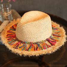 346df755a28 Women Men Straw Wide Brim Fedora Hat Queen Beach Panama Sun Hat Pink Ribbon