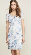 $695 New Marchesa Notte Cap Sleeve Corded Lace Dress 3 D Ivory Blue 2 4 6 8 10