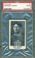 1912 C57 #1 GEORGES VEZINA ROOKIE CARD PSA 2 GOOD