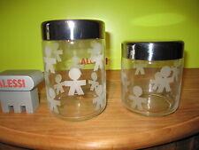 ALESSI *NEW* Set 2 boîtes de cuisine d.10,5cm h.12cm/75cl 16cm/100cl AKK36/37