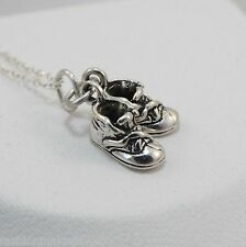 Baby Shoes Necklace - 925 Sterling Silver - Baby Shoe Charm Booties Slippers NEW
