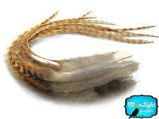 6 Pieces - Bleached Thick Long Grizzly Rooster Hair Extension Feathers