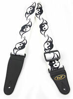White Ying And Yang Guitar Strap For Gibson, Ibanez, Tanglewood, Yamaha & Fender