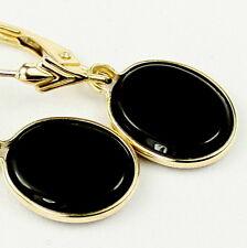 Black Onyx, 14KY Gold Leverbacks, E101