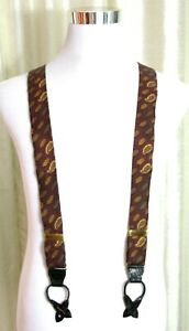 Cole Haan DRK RED PAISLEY 100%SILK BLACK LEATHER BUTTON-ON X-BACK SUSPENDERS (Z7