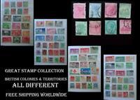 Stamp Collection British Colonies NZ Hong Kong Barbados Gibraltar India Uganda