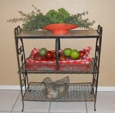 MID CENTURY IRON DECORATIVE INDOOR / OUTDOOR PLANT STAND ~ COLLECTIBLE SHELVES