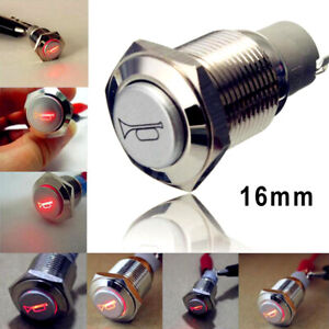 Car 12V LED Momentary Horn Button Metal Switch 16mm Push Button Lighted Switch