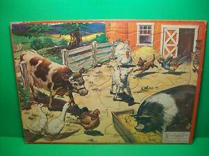 """Vintage 1957 ~ Life On The Farm ~ Frame Tray Puzzle (Milton Bradley) ~ 10"""" x 14"""""""