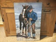 "Original Artwork by Chris Buchholz.  THE COWBOY.  Oil.  18"" x 28""."