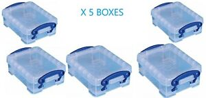 Really Useful 0.2 Litre Small Clear Plastic Storage Box (Pack of 5)