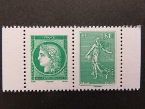 France 2014 – Neuf** – Y&T P4908/4909 se tenant, vert Type Cérès & Type Semeuse