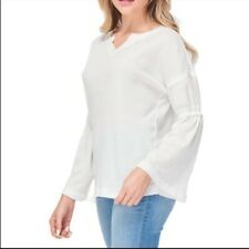 Womens Baea White Waffle Knit Thermal Chic Timeless Flutter Long Sleeve Shirt