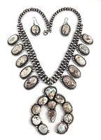 Native American Sterling Silver Navajo Dry Creek Squash Blossom Necklace Set