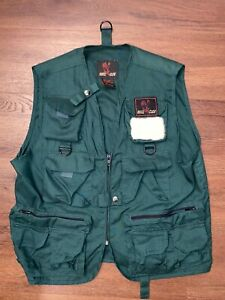 Eagle Claw brand green vest S/M pockets polyester cotton chest 42 Snap zip