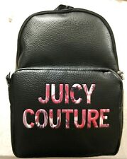 NWT Juicy Couture All Nighter Small Backpack Travel Bag in Black Faux Leather