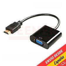 Cable Adaptador Conversor HDMI macho a VGA hembra [ Tele - Monitor - Negro ]