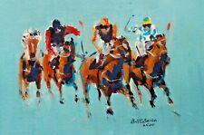 Original Irish Painting. Horse Racing Laytown. Push for Place. Irish Art...