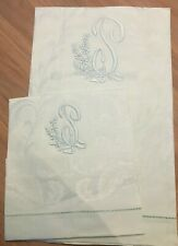 Set of 5 x Monogrammed 'P' linen hand towels - Made in Italy