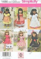 "Pattern Simplicity fits 18"" inch Doll Clothes Girl 2014 Dress Apron Nightgown"
