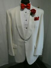 Torre White Wool Blend 1 Button  Shawl Collar Cruise / Dinner Jacket Size 42R