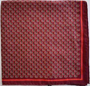 New Auth GUCCI LOVETTE GG LOGO 100% SILK Pocket Square Handkerchief