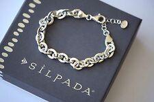 "Silpada NIB ""Link"" Sterling Silver Chic Italian Made Lightweight Bracelet B3414"