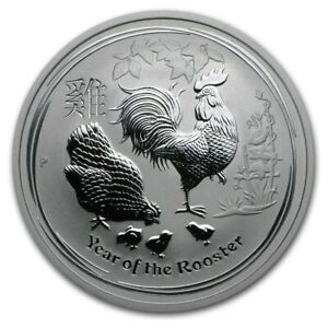 2017 - 1/2 - OZ 9999 SILVER - LUNAR YEAR of the ROOSTER - PERTH MINT GEM - $9.99