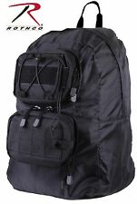 "Rothco Black Tactical Foldable Backpack - 18"" Customizable MOLLE Bag Pack 27710"
